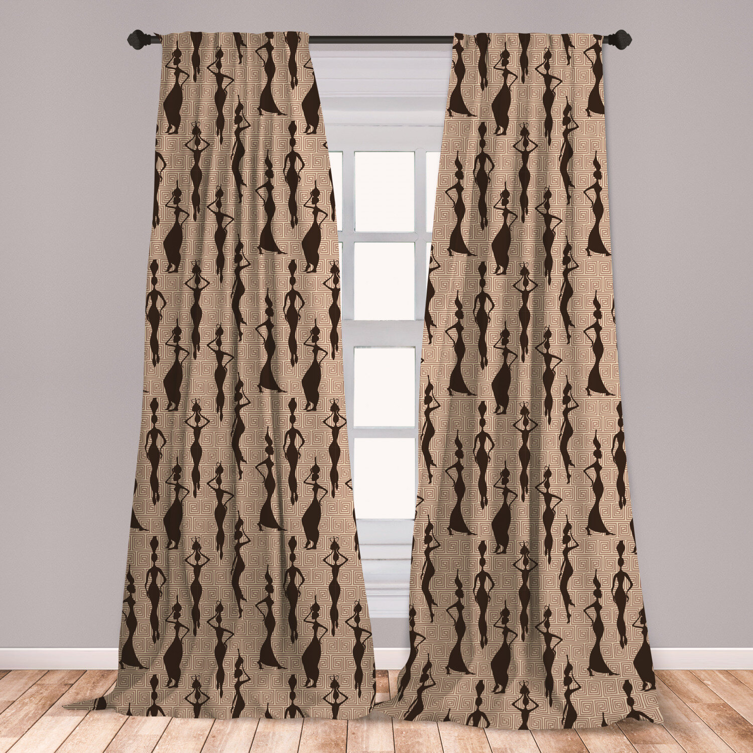 East Urban Home Ambesonne African 2 Panel Curtain Set, Woman Of