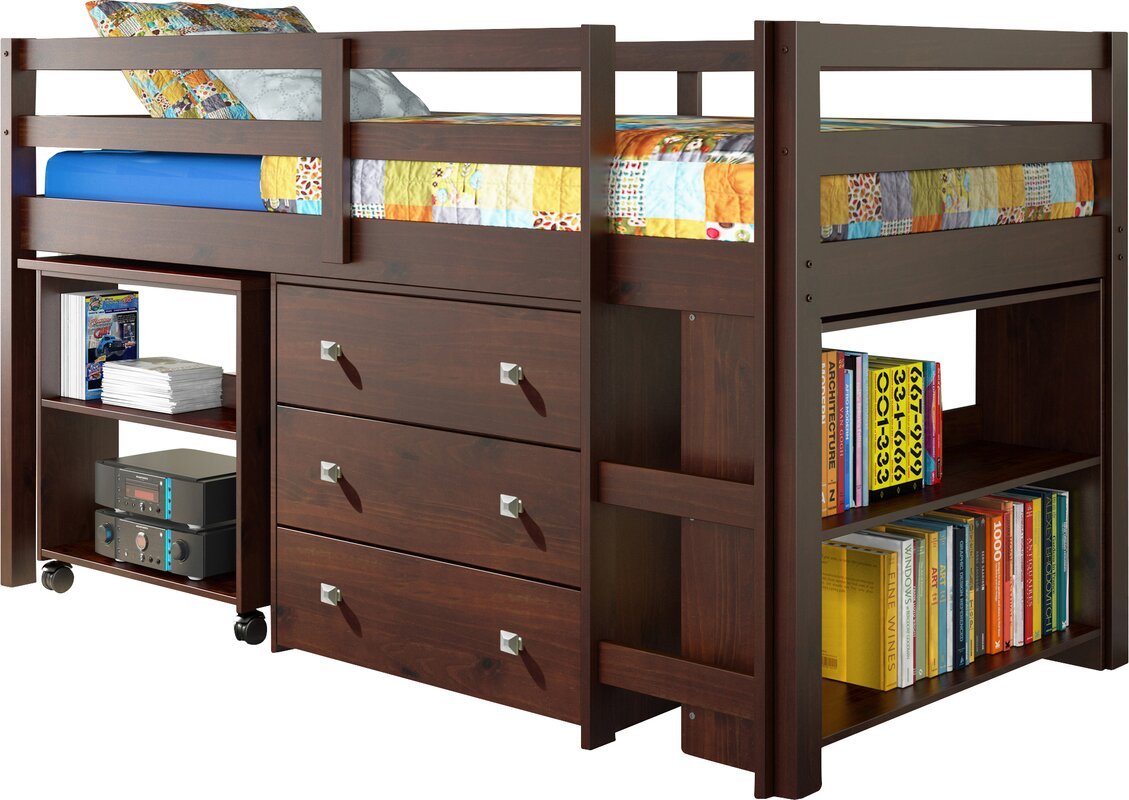 twin kids beds you'll love - zechariah twin low loft bed with storage