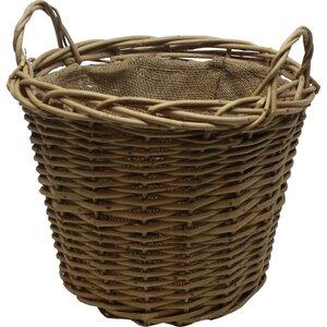 Round Wild Willow Lined Log Basket