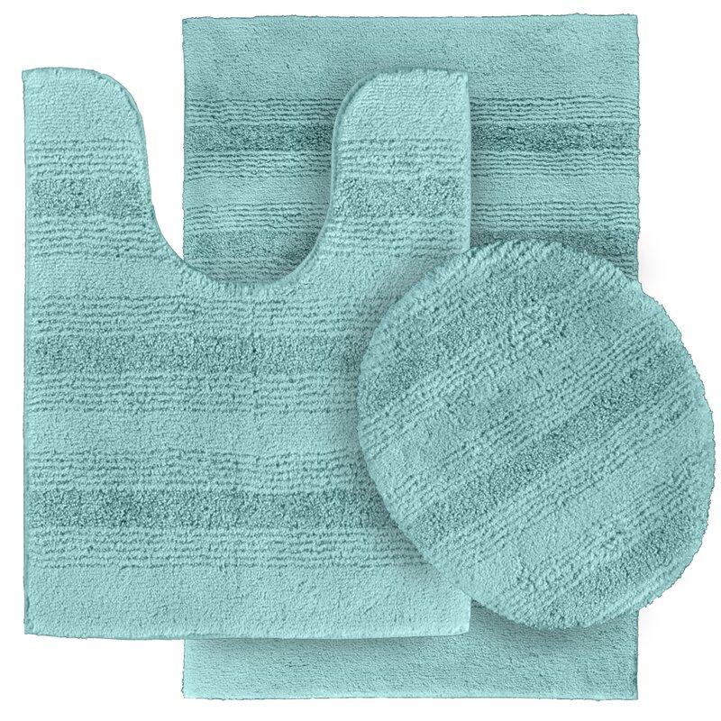 wildon home ® deyanira 3 piece green bath rug set & reviews   wayfair