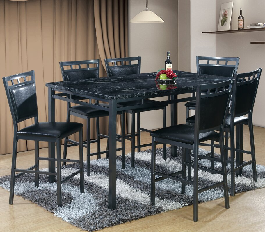 Best Quality Furniture 7 Piece Counter Height Dining Table
