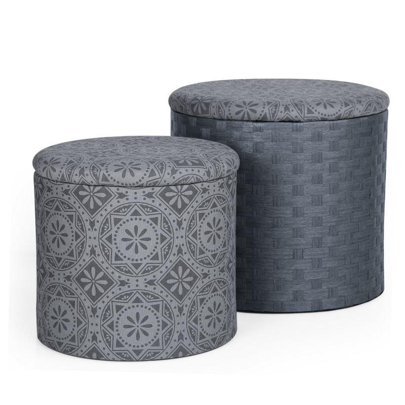 2 Piece Round Storage Ottoman Set - AdecoTrading 2 Piece Round Storage Ottoman Set & Reviews Wayfair