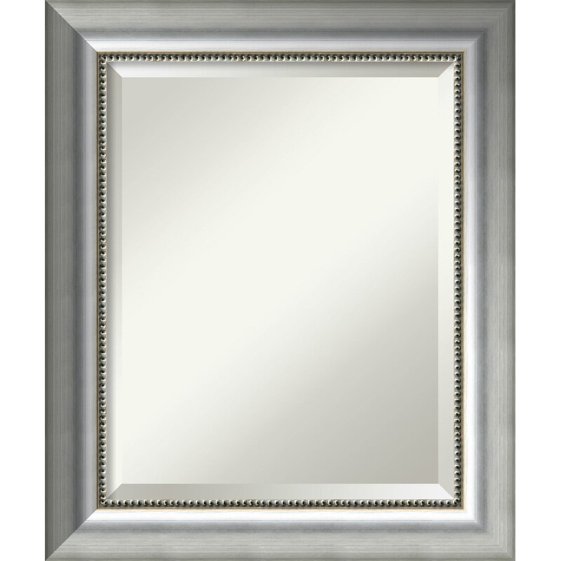 Rectangle Curved Silver Bathroom Wall Mirror & Reviews