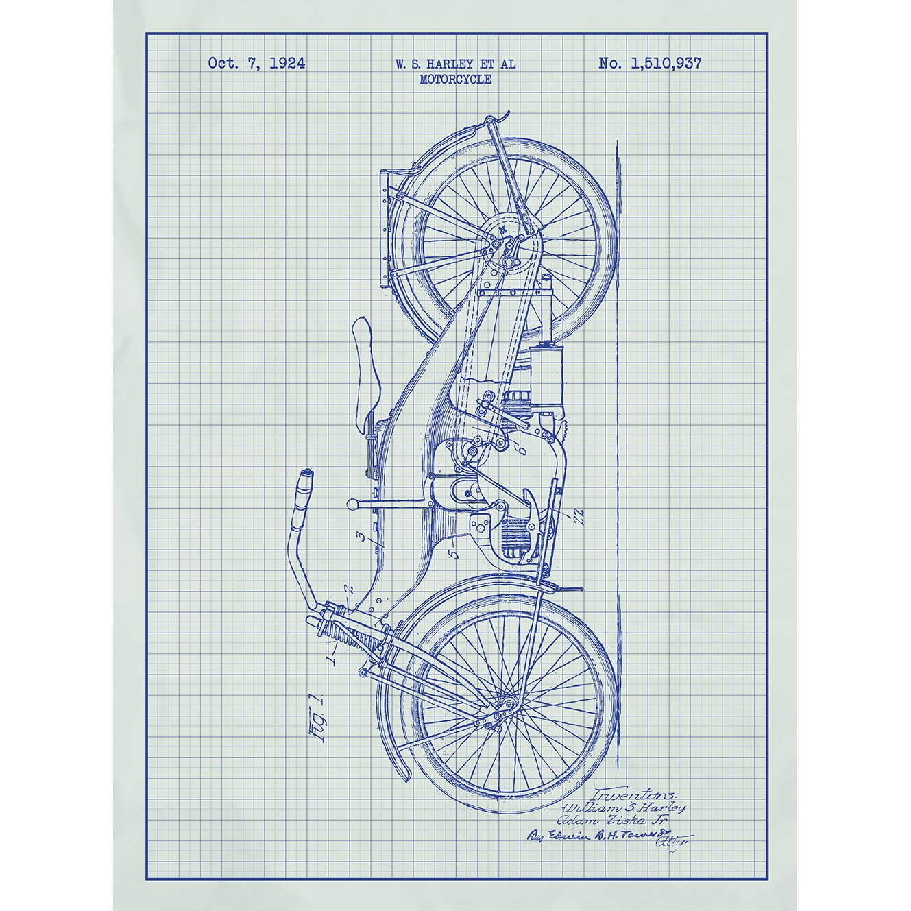 Harley color carpet tiles - Automobiles Et Al Harley Davidson Motorcycle 1924 Silk Screen Print Graphic Art In White