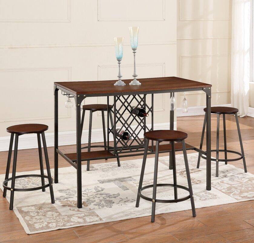 Brayden Studio Littell  Piece Pub Table Set  Reviews Wayfair - Bar stools and table set