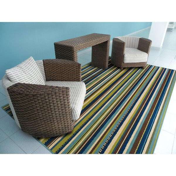 Threadbind Newfield Blue/Brown Indoor/Outdoor Area Rug U0026 Reviews | Wayfair