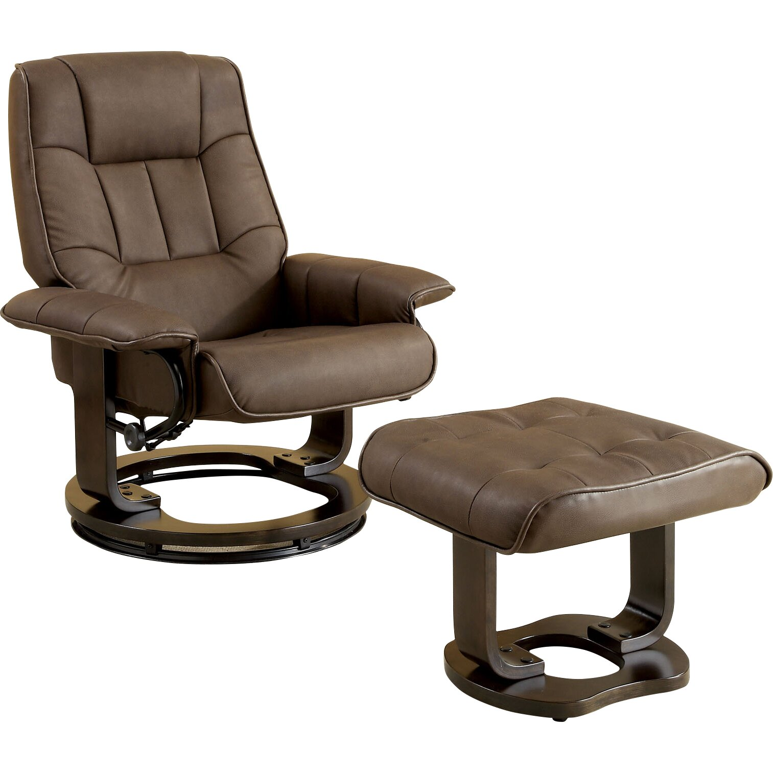 Hokku Designs Leatherette Swivel Recliner Chair And