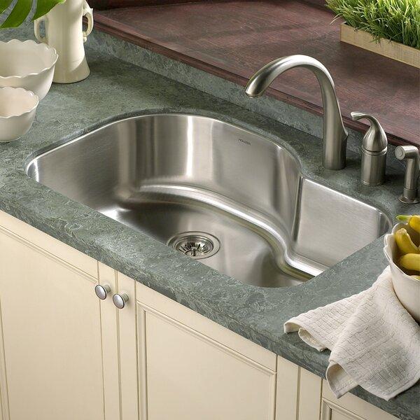 Houzer Medallion Designer 31 5 X 17 94 21 Undermount Offset Single Bowl Kitchen Sink Reviews Wayfair