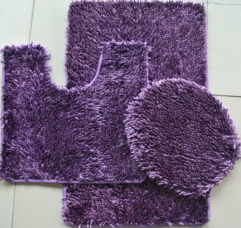 daniels bath shiny 3 piece bath rug set & reviews   wayfair