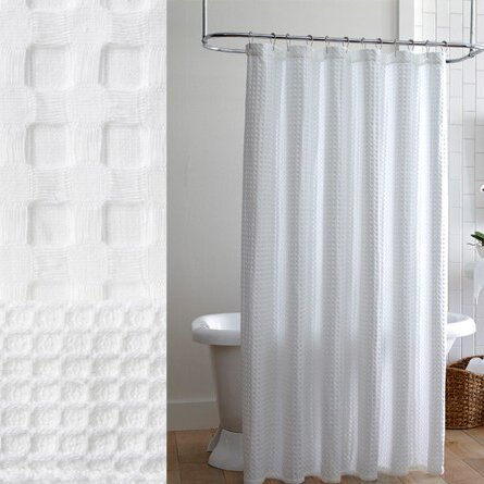 White Waffle Shower Curtain white waffle weave shower curtain - mobroi