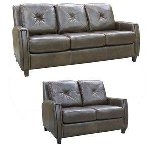 Topeka Top Grain Leather Sofa And Loveseat Set
