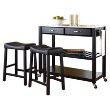 Kitchen Island Set With Stainless Steel Top