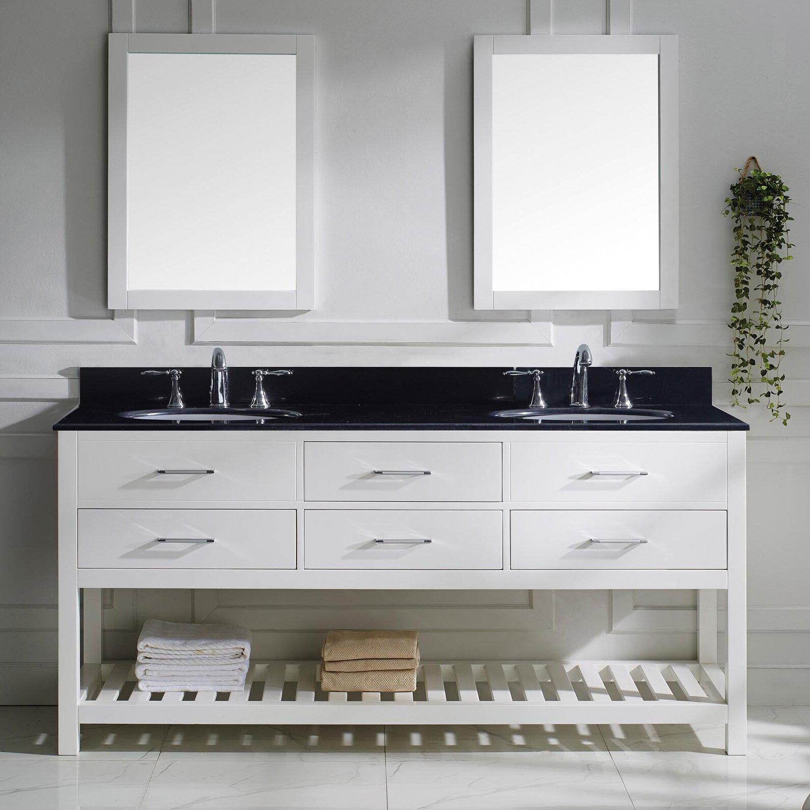 Virtu bathroom accessories - Caroline Estate 73 Double Bathroom Vanity Set With Black Galaxy Top And Mirror