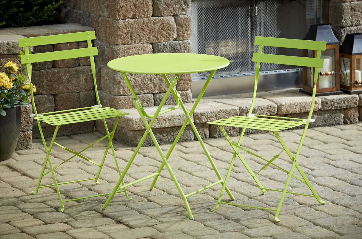 Black folding chairs wedding - 3 Piece Bistro Set