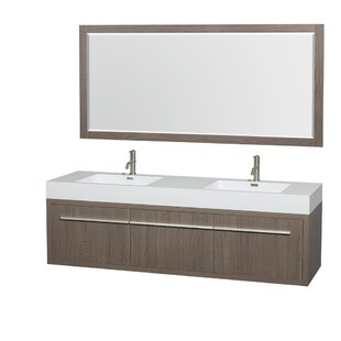 Axa 72 Double Gray Oak Bathroom Vanity Set with Mirror by Wyndham Collection