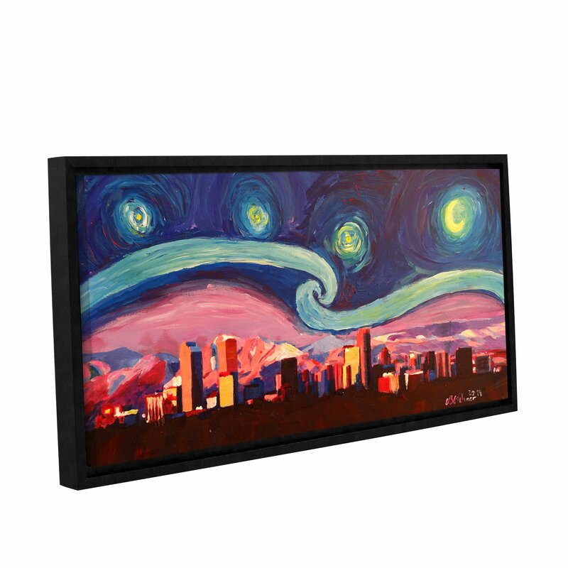 latitude run starry night in denver colorado skyline with mountains framed painting print on wrapped canvas wayfair starry night in denver colorado skyline with mountains framed painting print on wrapped canvas