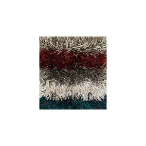 Linden Shag Hand-Tufted Gray/Red Area Rug
