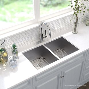 Pax™ Zero-Radius 16 Gauge Stainless Steel 31.5 x 18.5 Double Basin Undermount Kitchen Sink with Faucet