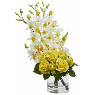 Rose and Dendrobium Orchid Floral Arrangement