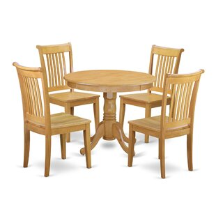 Theodore 5 Piece Breakfast Nook Solid Wood Dining Set August Grove