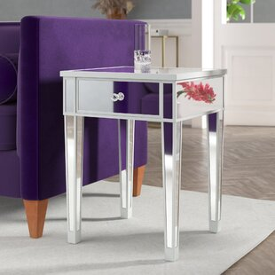 Claybrooks Mirrored End Table with Drawer