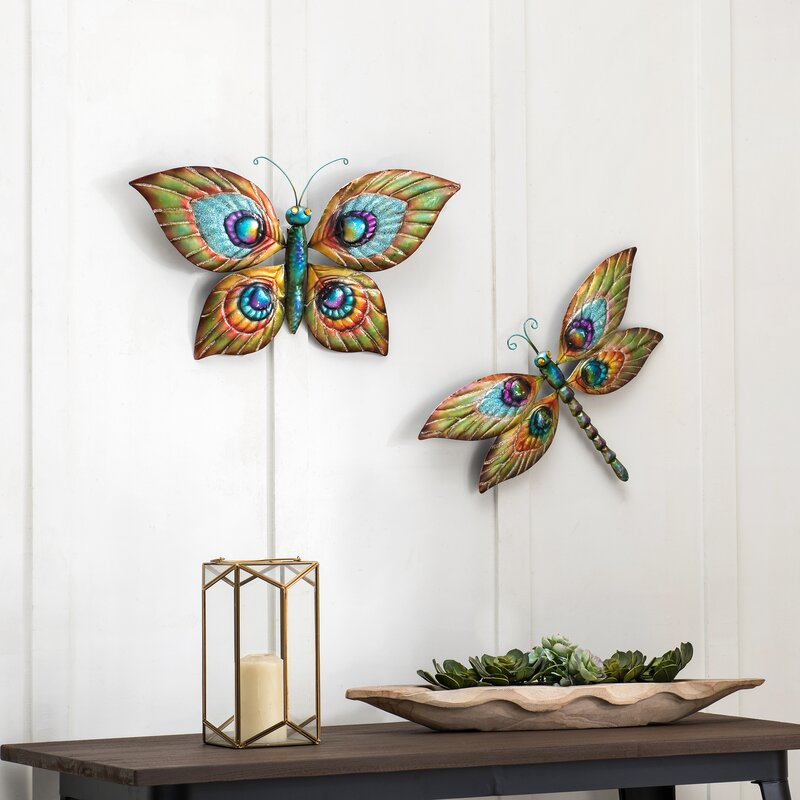 Trinx Butterfly And Dragonfly 2 Piece Set Reviews Wayfair