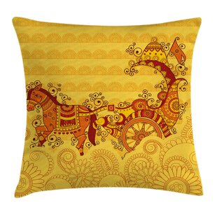 Indian Ethnic Icon Folk Design Square Pillow Cover