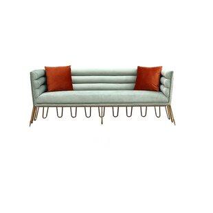 Shop Jeri Modern Light Green Velvet & Gold Sofa by Everly Quinn
