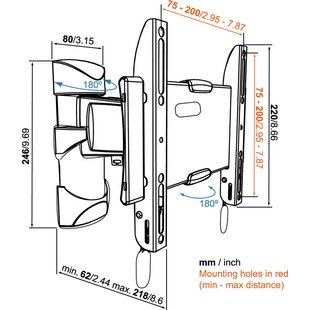 Display Swivel Wall Mount For 19