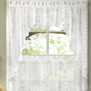 Old World Style Fl Heavy Lace Kitchen Curtain Swag