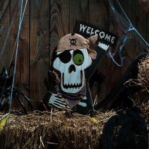 Wooden Skull Garden Stake