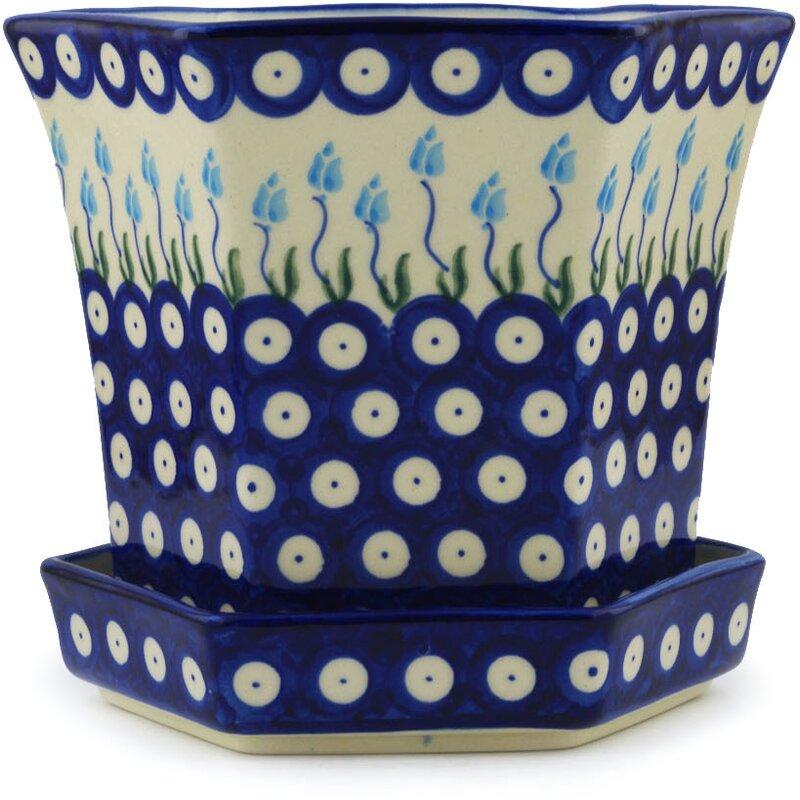 Polmedia Floral Peacock Polish Pottery Stoneware Pot Planter Wayfair