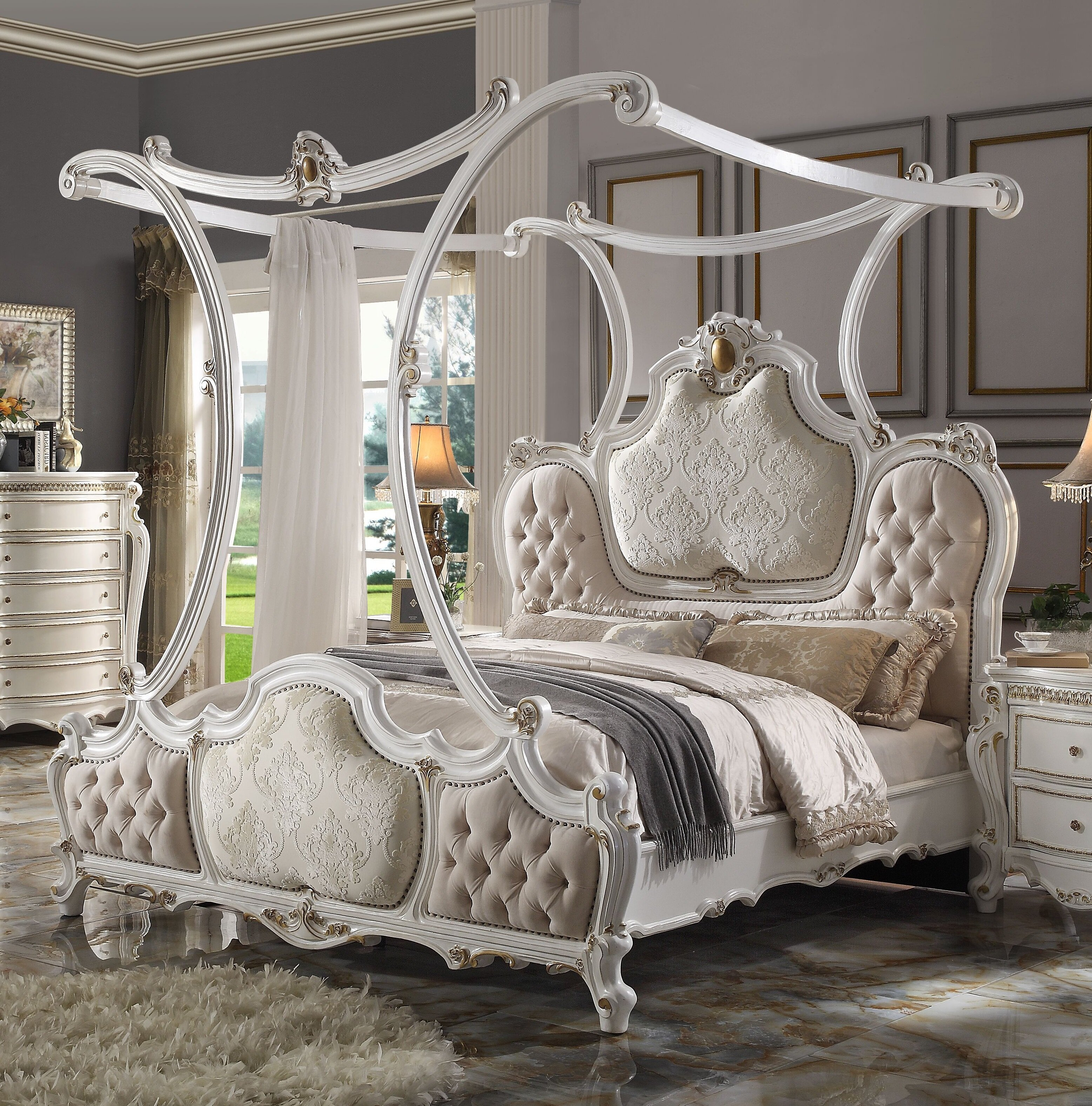 - One Allium Way Valparaiso Upholstered Canopy Bed Wayfair