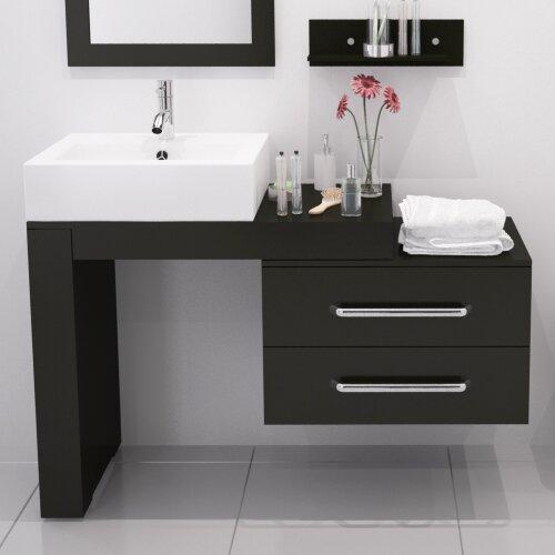 "Modern Bathroom Vanity Sets mercury row osborn 57"" single wall mounted modern bathroom vanity"