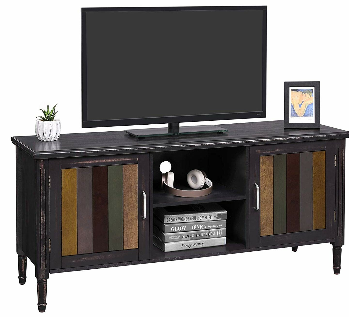 "Home Staging Meuble Tv vasagle tv cabinet for 50"" tv with 2 open shelves, tv stand with colourful  doors for living room, entertainment room, office, solid wood legs, easy to"
