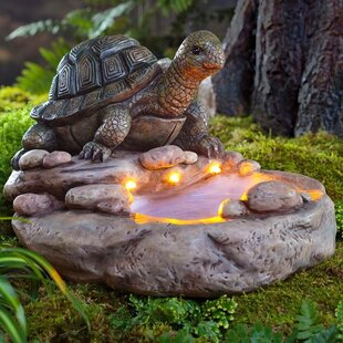 Wind & Weather Turtle Solar and Lighted Birdbath