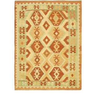 Read Reviews One-of-a-Kind Elland Hand-Knotted 5' x 6'6 Wool Rust Red/Beige Area Rug By Isabelline