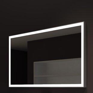 Best Reviews Kristian Modern Gray Metal Frame Illuminated Bathroom / Vanity Wall Mirror ByOrren Ellis