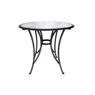 Ebern Designs Blanca Glass Top Aluminum Bar Table
