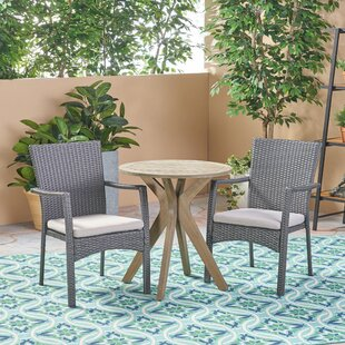 Bungalow Rose Briar Outdoor 3 Piece Bistro Set with Cushions