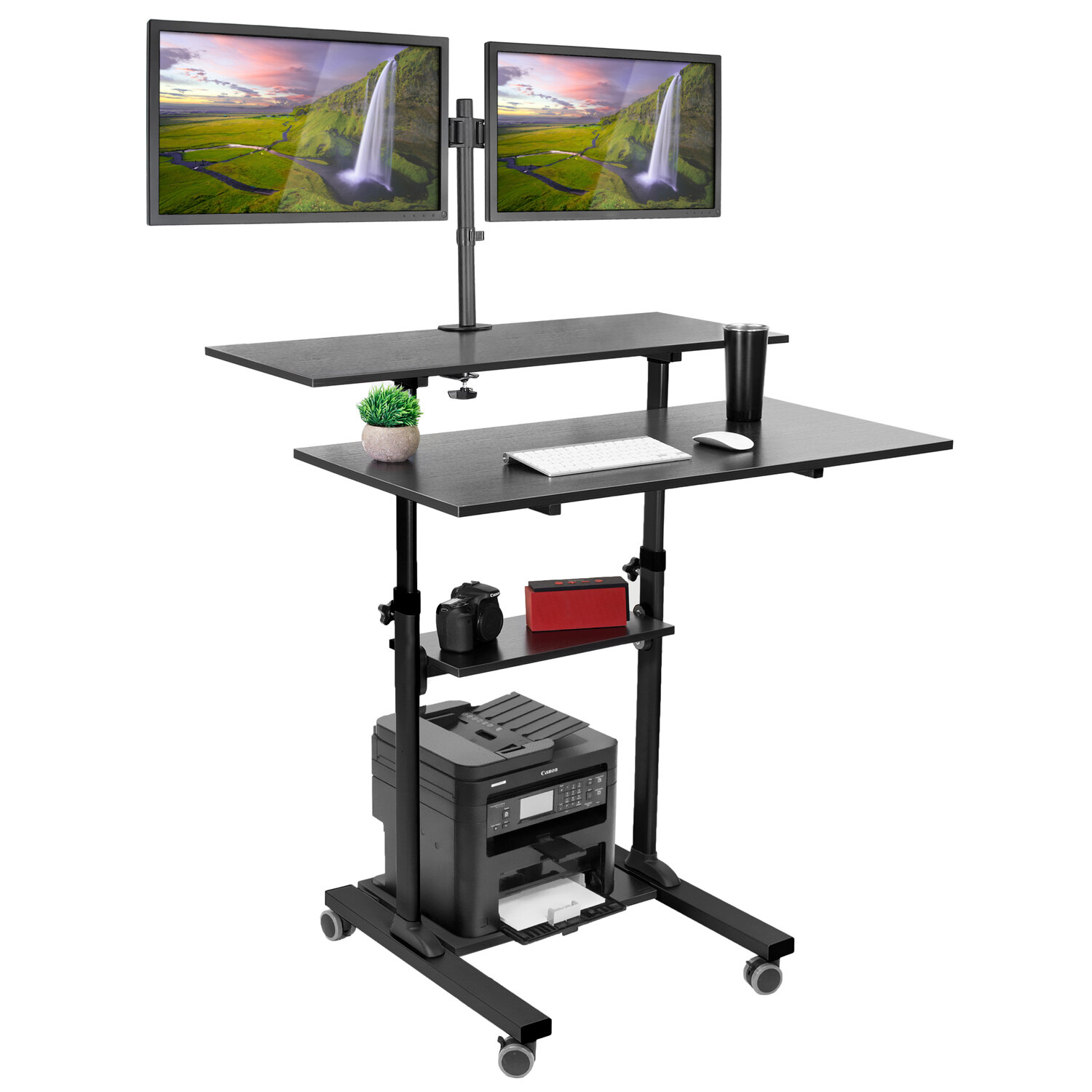 Picture of: Symple Stuff Hutchinson Height Adjustable Standing Desk Reviews Wayfair