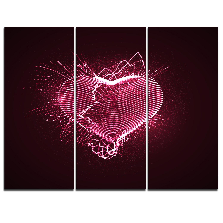 Designart Happy Valentine S Day 3 Piece Graphic Art On Wrapped Canvas Set Wayfair
