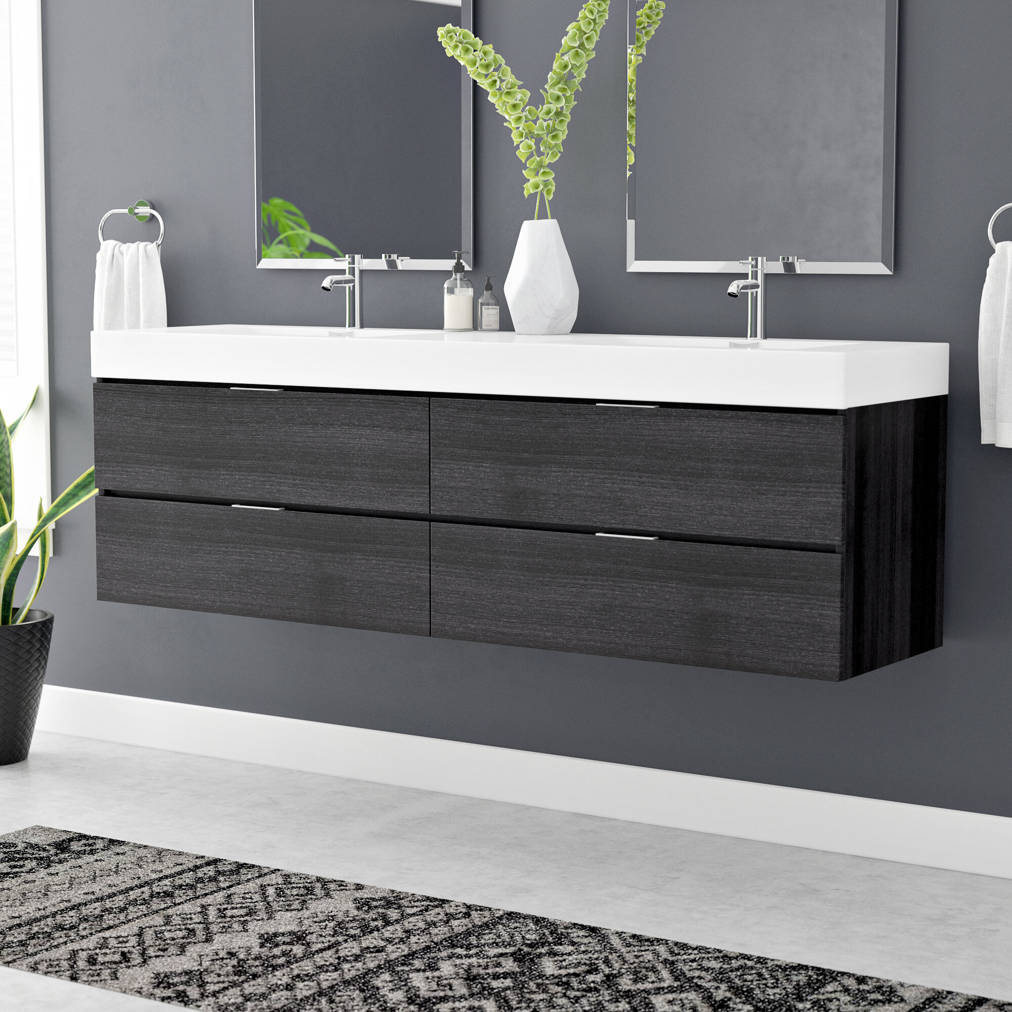 Wade Logan Tenafly 72 Wall Mounted Double Bathroom Vanity Set Reviews Wayfair
