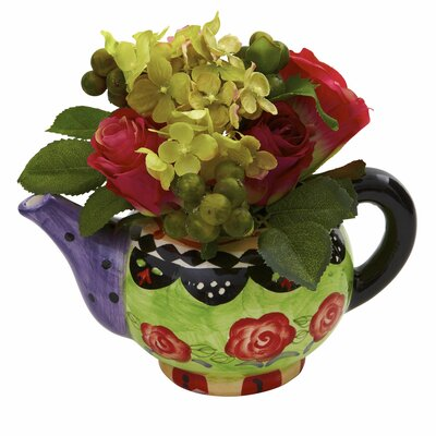 Rose and Hydrangea with Decorative Vase August Grove
