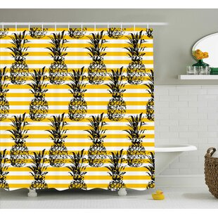 Kassandra Retro Striped Background With Pineapple Figures Vintage Hippie Graphic Single Shower Curtain