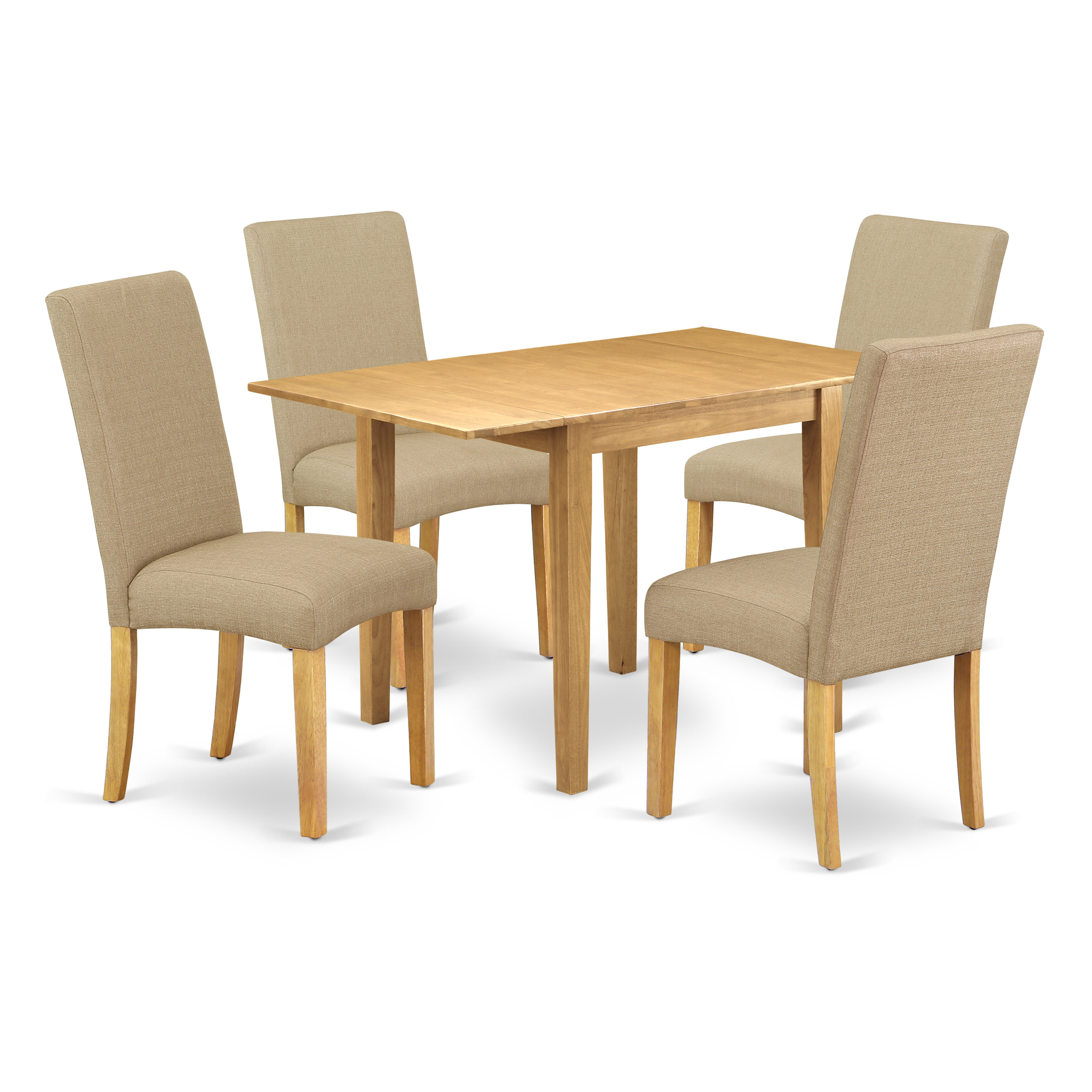 Picture of: Winston Porter Dining Table Set 5 Pcs 4 Dining Room Chairs And A Dinner Table Linen White Finish Solid Wood Grey Colour Linen Fabric