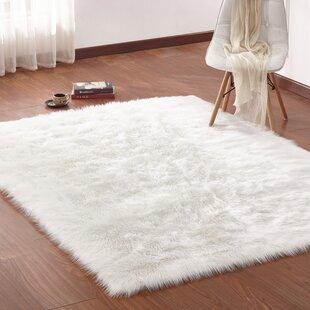 Zoya Faux Fur Ivory Area Rug