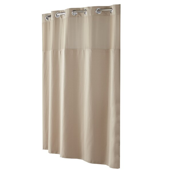 Sweet Home Collection Easy On 70 x 75 Shower Curtain Durable Water Repellent Resistant Fabric with Built in Flat Top Hooks Ivory