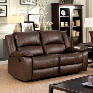 Hung Leather Reclining Loveseat