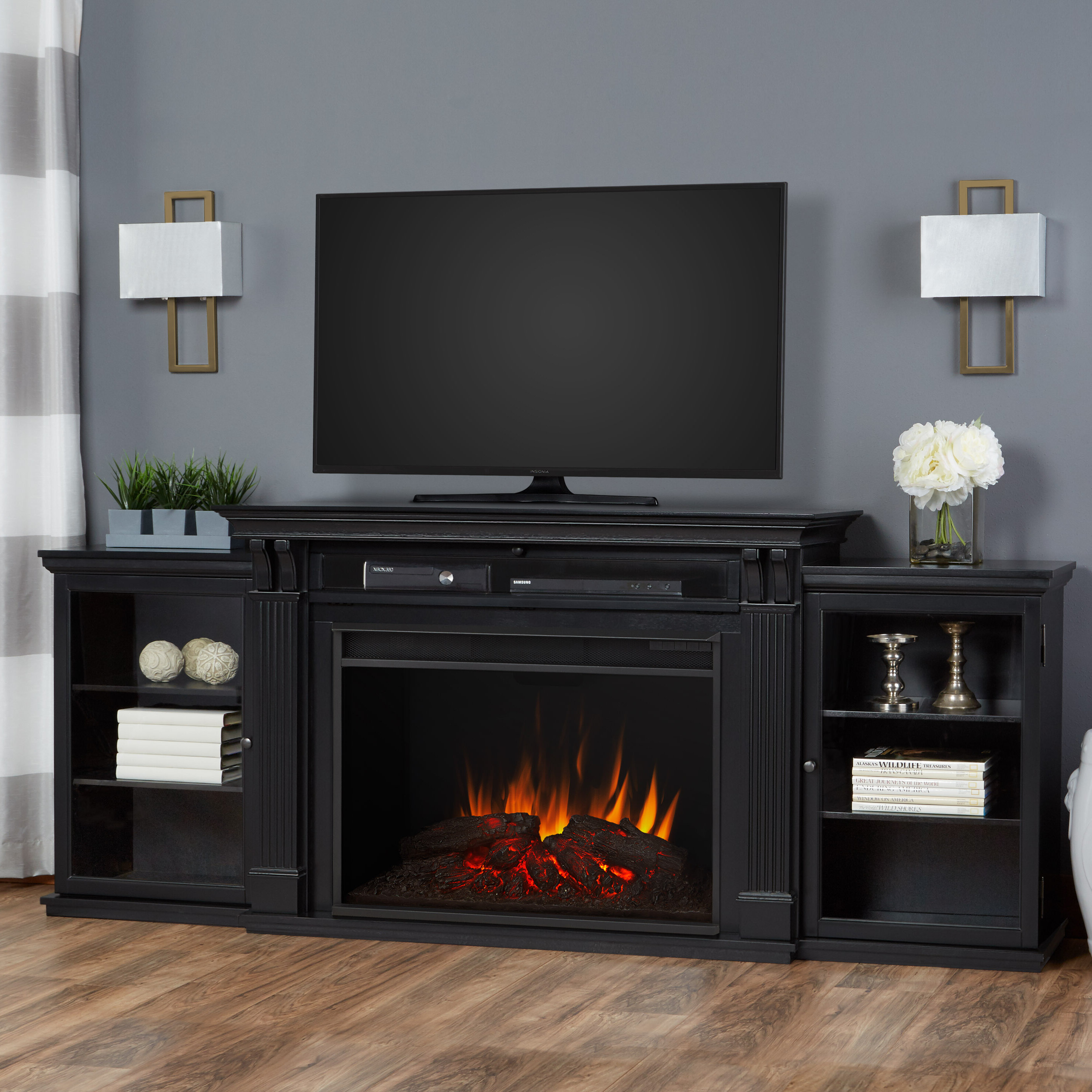 large electric insert with design tv by small plain stand furniture rustic fireplace ashley signature